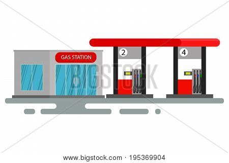 Gas station. Oil, fueling petrol with shop. Flat vector illustration. Cute cartoon vector illustration of a gas petrol station. Gas station on white background.