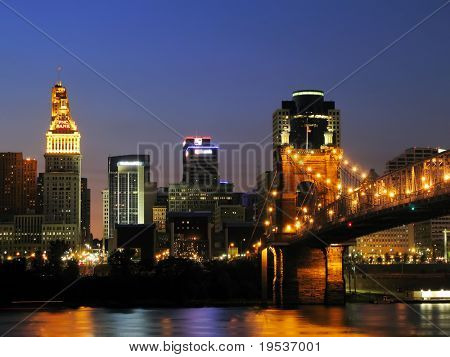 Downtown Cincinnati after sunset.