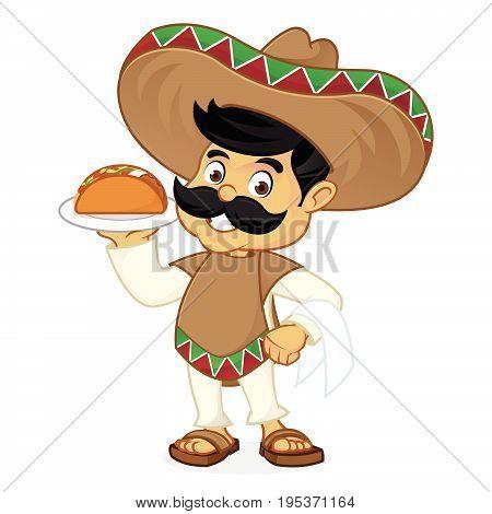 Mexican Man Cartoon Serving Taco