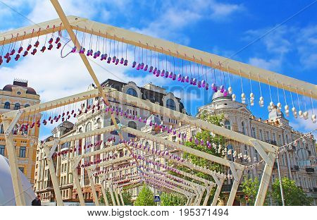 KYIV, UKRAINE - MAY 01, 2017: Decoration of eggs and ribbons in fan zone for international song competition Eurovision-2017 on Sofia square