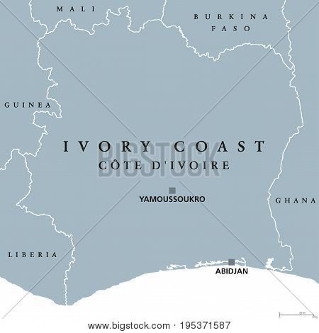 Ivory Coast political map with capital Yamoussoukro and Abidjan. Republic of Côte d'Ivoire, country on the West African coast. Gray illustration isolated on white background. English labeling. Vector.