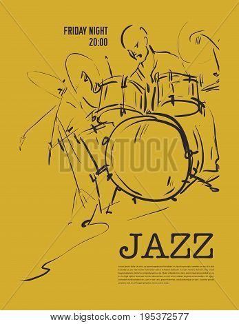 Jazz music party invitation design. Vector illustration.