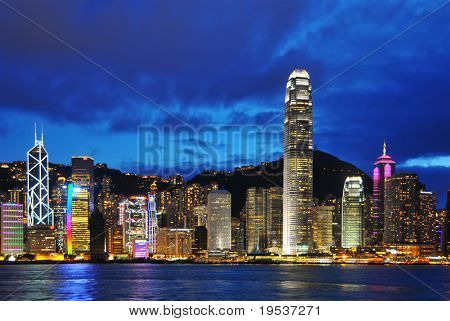 HONG KONG - August 23: View of Hong Kong skyline shortly after sunset.