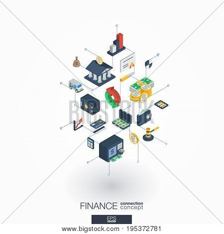 Finance integrated 3d web icons. Digital network isometric interact concept. Connected graphic design dot and line system. Abstract background for money bank, market transaction. Vector on white.