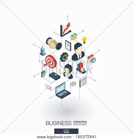 Business integrated 3d web icons. Digital network isometric interact concept. Connected graphic design dot and line system. Abstract background for market mission and strategy plan. Vector on white.