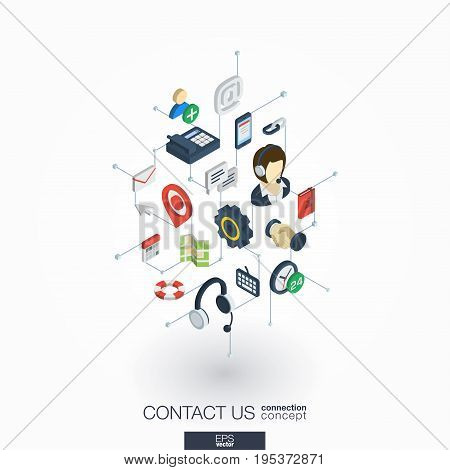 Support integrated 3d web icons. Digital network isometric interact concept. Connected graphic design dot and line system. Background for call center, help service, contact us . Vector on white.