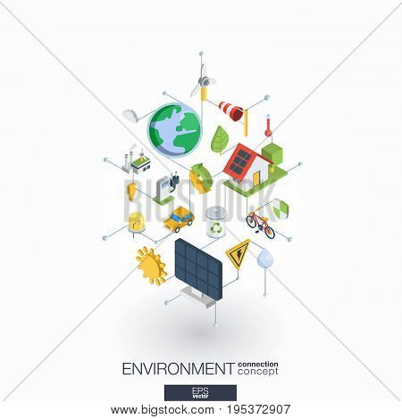 Environmental integrated 3d web icons. Digital network isometric interact concept. Connected graphic design dot and line system. Abstract background for ecology, recycle and energy. Vector on white.