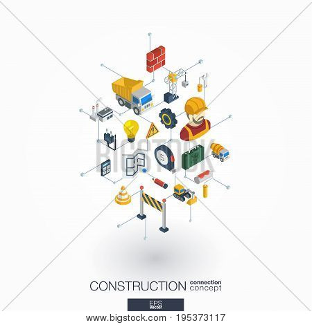 Construction integrated 3d web icons. Digital network isometric interact concept. Connected graphic design dot and line system. Abstract background for engineer, architecture, build. Vector on white.