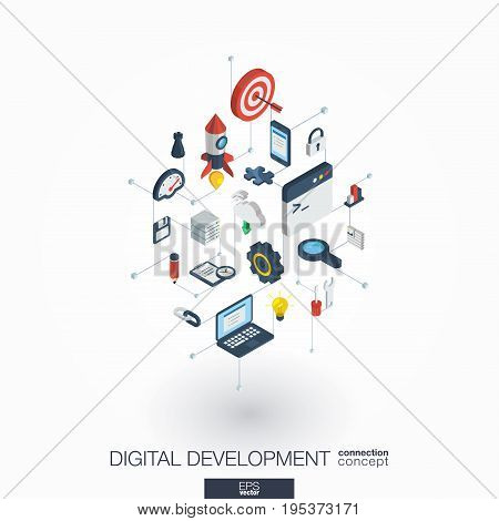 Development integrated 3d web icons. Digital network isometric interact concept. Connected graphic design dot and line system. Abstract background for programming, coding, app design. Vector on white.