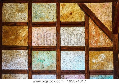 Old Framed Wall In Historical House, Timber-framing Technology Of Building