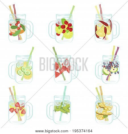 Vector illustration of Detox water with Fruits, vegetables or berries. Isolated for diet menu, cafe and restaurant menu. Fresh smoothies, fruit cocktail for healthy life.
