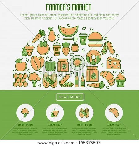Farmer's market concept in circle with thin line icons: fruits, coffee, tea, honey, food, olive oil. Vector illustration for invitation, banner, announcement.