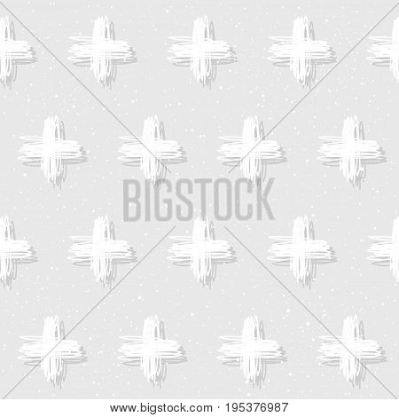 Doodle Cross Seamless Pattern Background.