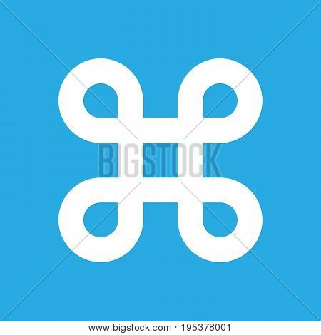 Bowen knot symbol for command key. Simple flat white illustration on blue background.