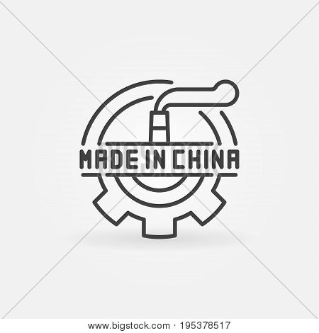 Made in China industrial icon. Vector abstract symbol for chinese products in thin line style