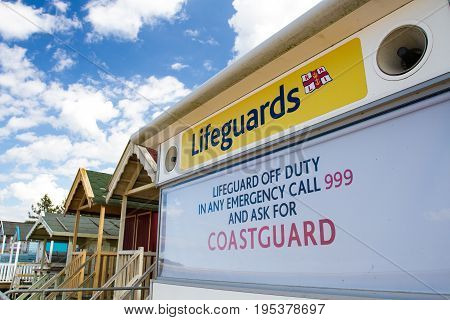 WELLS NEXT THE SEA, NORFOLK, U.K. - JULY 3, 2017. An HM Coastguard station that is closed leaving swimmers, bathers and holidaymakers unprotected and vulnerable in an emergency situation.