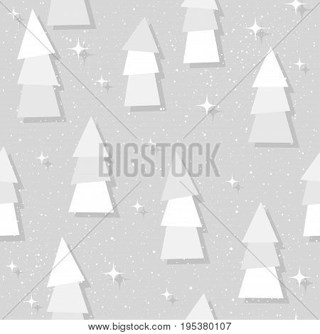 Spruce Forest Seamless Pattern. Abstract Spruce And Star Pattern