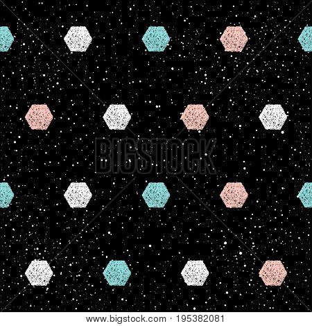 Doodle Hexagon Seamless Background. Abstract Childish Blue, White, Pink Hexagon