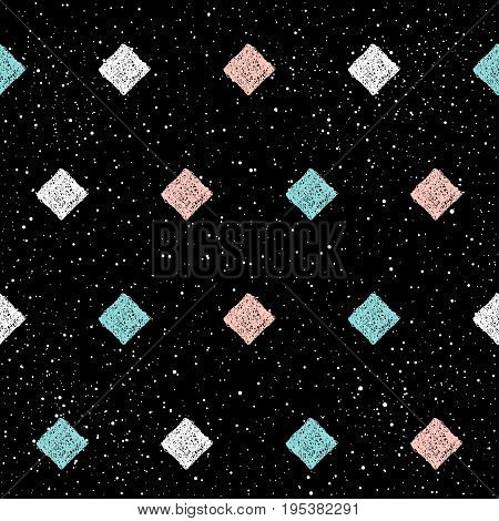 Doodle Rhombus Seamless Background. Abstract Childish Blue, White And Pink Rhombus