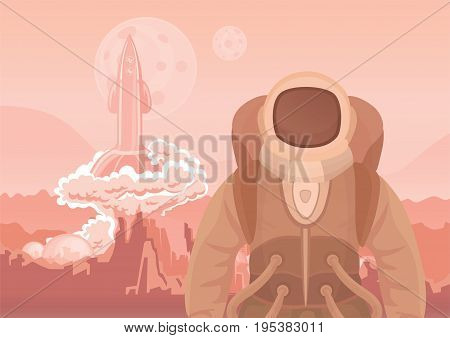 Astronaut on Mars or another planet. A rocket blasting off. Space travel. Vector illustration.