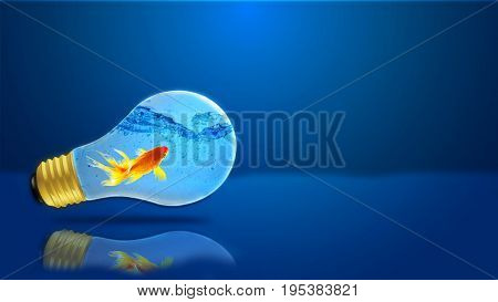 Creative conceptual photography. Goldfish in a light bulb on a blue background.