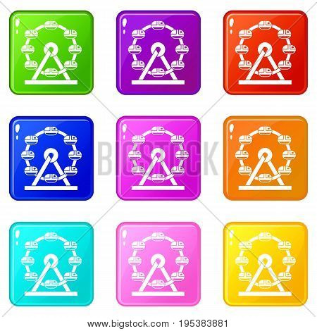 Giant ferris wheel icons of 9 color set isolated vector illustration