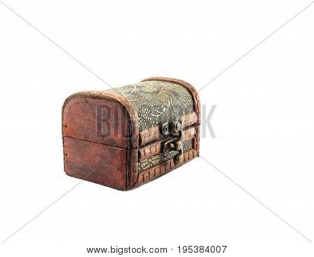 old mystery chest on isolated white background