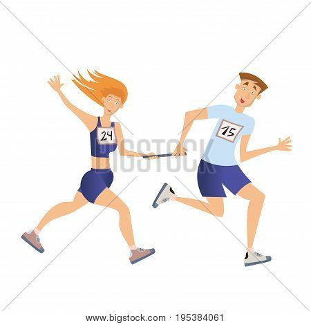 Relay race. Running man and woman. Vector illustration, isolated on white background.