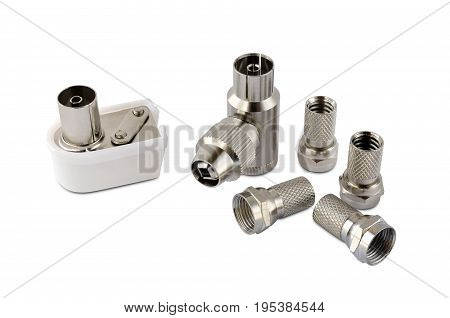 Connectors and adapters for antenna cable on white background
