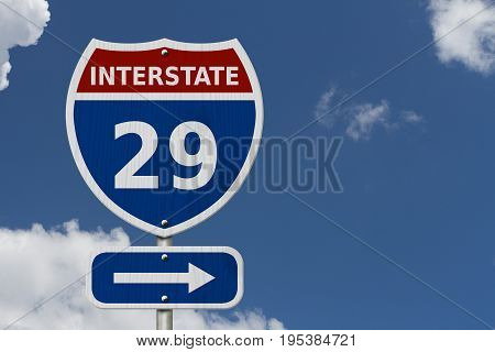 USA Interstate 29 highway sign Red white and blue interstate highway road sign with number 29 with sky background 3D Illustration