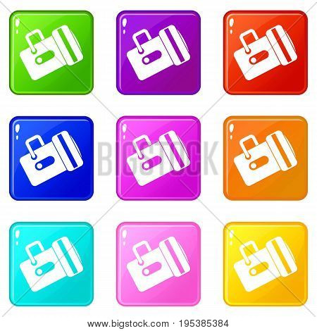 Flashlight icons of 9 color set isolated vector illustration