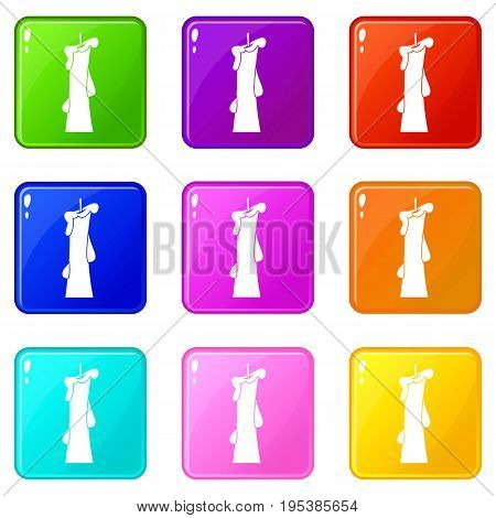 Church candle icons of 9 color set isolated vector illustration