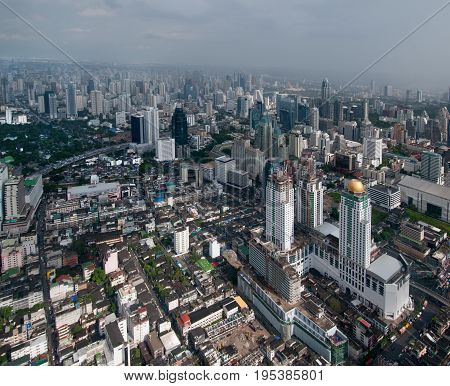 Top view of modern Bangkok from Baiyoke hotel. Bangkok is capital city of Thailand and the most populous city in the country.