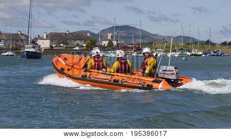 Lifeboat on Patrol, 19th June 2015, Pwllheli, North Wales, UK.