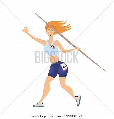 Woman throwing the javelin. Vector illustration, isolated on white background.