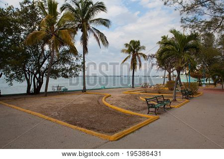 Empty public park in Cienfuegoes at sunset Cuba