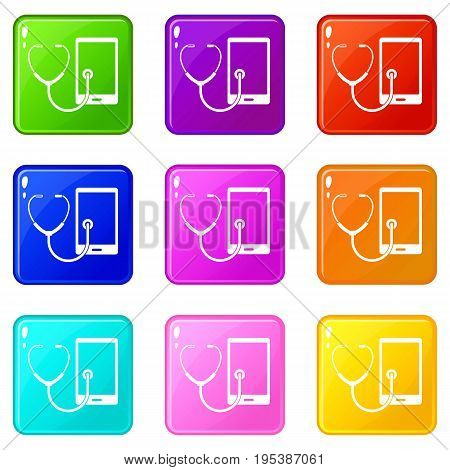 Phone diagnosis icons of 9 color set isolated vector illustration