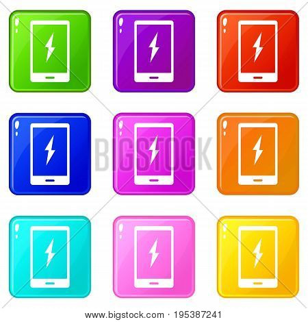 Warning phone icons of 9 color set isolated vector illustration