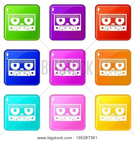 Audio cassette tape icons of 9 color set isolated vector illustration