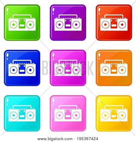 Vintage tape recorder for audio cassettes icons of 9 color set isolated vector illustration