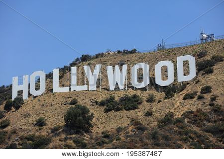 Los Angeles, United States - July 11, 2017: The famous Hollywood Sign on Mount Lee in Los Angeles, seen from Mulholland Drive.
