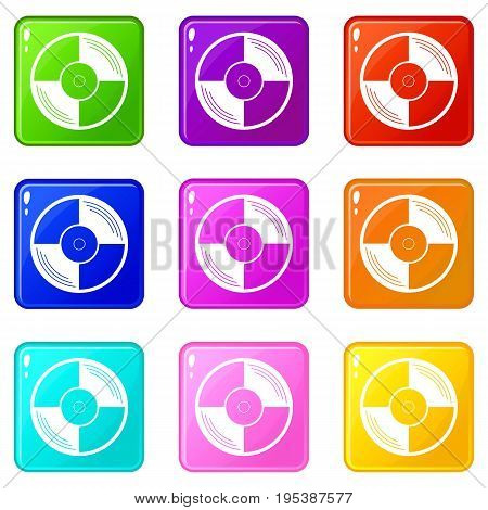 Vinyl record icons of 9 color set isolated vector illustration