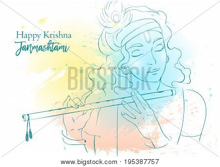 Lord Krishna plays his flute vector Illustration. Happy Janmashtami annual Hindu festival greetings. Line art portrait of holy person.