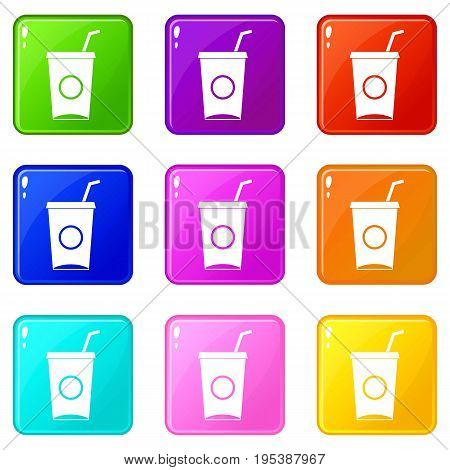 Soft drink in paper cup icons of 9 color set isolated vector illustration