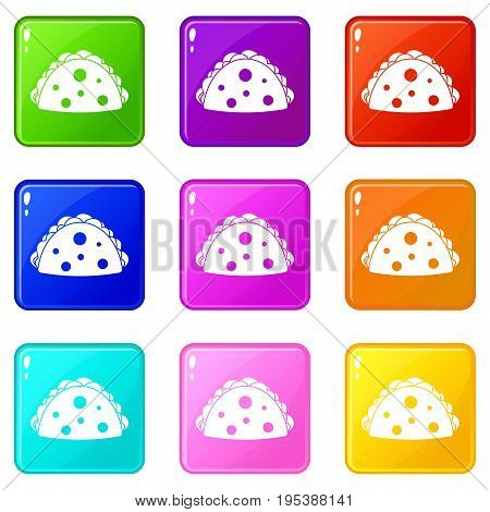 Empanada, cheburek or calzone icons of 9 color set isolated vector illustration