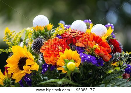 golf balls with flowers for birthday card voucher