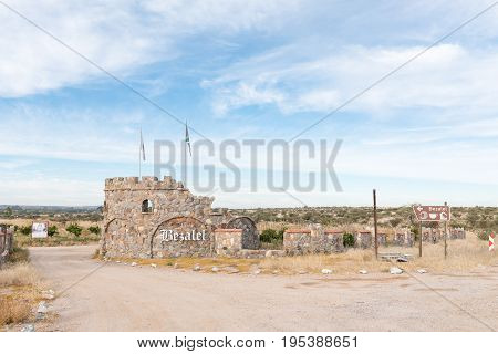 UPINGTON SOUTH AFRICA - JUNE 12 2017: Entrance to the Bezalel Wine and Brandy Estate near Upington a town in the Northern Cape Province