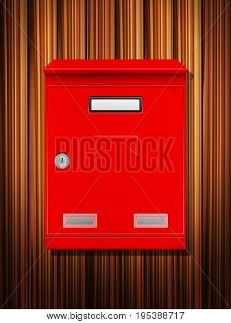 Mailbox on a wooden background. Vector illustration.