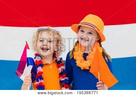 Dutch Kids. Children With Flag Of Netherlands. Holland Fans
