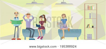 People sitting on sofas in office interior. Vector illustration.